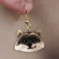 Raccoon Earrings Hanging