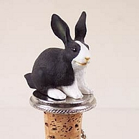 Rabbit Black & White Bottle Stopper