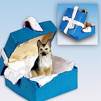 German Shepherd Tan & Black Gift Box Blue Ornament