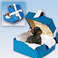 Wire Haired Dachshund Red Gift Box Blue Ornament