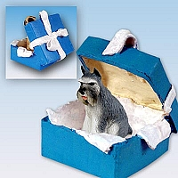 Schnauzer Gray Gift Box Blue Ornament