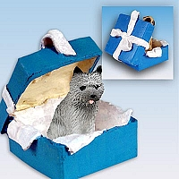 Cairn Terrier Gray Gift Box Blue Ornament