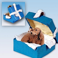 Dachshund Longhaired Red Gift Box Blue Ornament