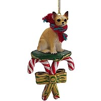 Chihuahua Tan & White Candy Cane Ornament