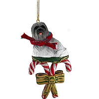 Lhasa Apso Gray Candy Cane Ornament