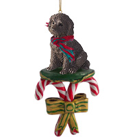 Labradoodle Chocolate Candy Cane Ornament