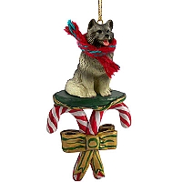 Keeshond Candy Cane Ornament