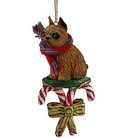 Brussels Griffon Red Candy Cane Ornament