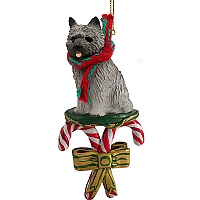 Cairn Terrier Gray Candy Cane Ornament