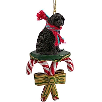 Portuguese Water Dog Candy Cane Ornament