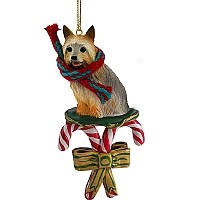 Silky Terrier Candy Cane Ornament