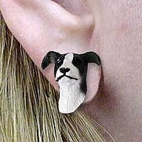 Greyhound Black & White Earrings Post