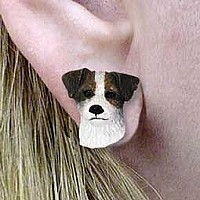 Jack Russell Terrier Brown & White w/Rough Coat Earrings Post
