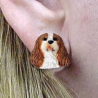 Brown & White Cavalier King Charles Earrings Post