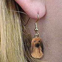 Afghan Tan & White Earrings Hanging
