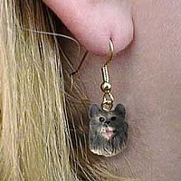 Keeshond Earrings Hanging