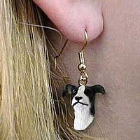Greyhound Black & White Earrings Hanging