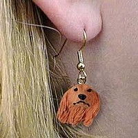 Dachshund Longhaired Red Earrings Hanging