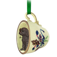 Labradoodle Chocolate Tea Cup Green Ornament