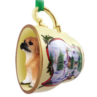 Puggle Tea Cup Snowman Holiday Ornament
