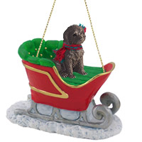 Labradoodle Chocolate Sleigh Ride Ornament