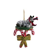 Zebra Candy Cane Ornament