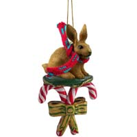 Rabbit Brown Candy Cane Ornament