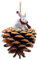 Rabbit White Pinecone Pet Ornament