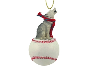 Wolf Gray Baseball Ornament