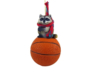 Raccoon Basketball Ornament