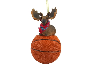 Moose Bull Basketball Ornament