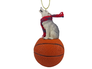 Wolf Gray Basketball Ornament
