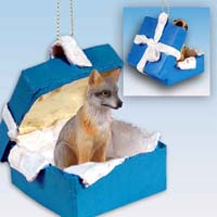 Fox Gray Gift Box Blue Ornament