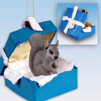 Squirrel Gray Gift Box Blue Ornament