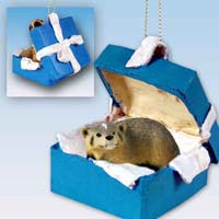 Badger Gift Box Blue Ornament