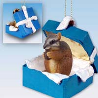 Chipmunk Gift Box Blue Ornament