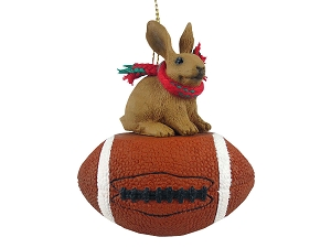 Rabbit Brown Football Ornament