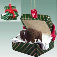 Buffalo Gift Box Green Ornament