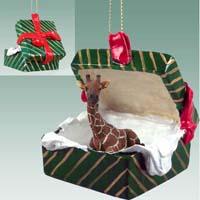 Giraffe Gift Box Green Ornament