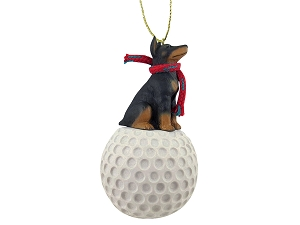 Doberman Pinscher Black  Golf Ornament