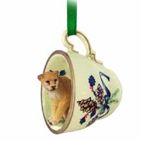 Cougar Tea Cup Green Holiday Ornament
