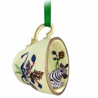 Zebra Tea Cup Green Holiday Ornament