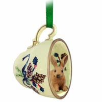 Rabbit Brown Tea Cup Green Holiday Ornament