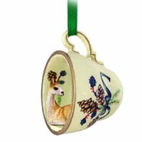 Llama Tea Cup Green Holiday Ornament
