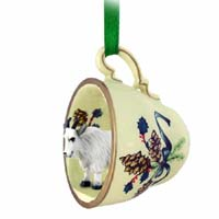 Mountain Goat Tea Cup Green Holiday Ornament