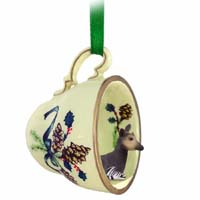 Okapi Tea Cup Green Holiday Ornament