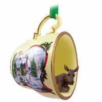 Moose Cow Tea Cup Snowman Holiday Ornament