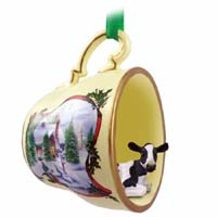Holstein Cow Tea Cup Snowman Holiday Ornament