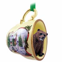 Bear Grizzly Tea Cup Snowman Holiday Ornament