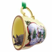 Armadillo Tea Cup Snowman Holiday Ornament